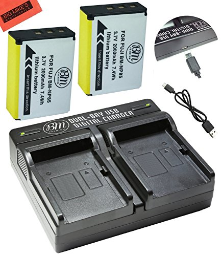 BM Premium 2-Pack Of NP-85 Batteries and Dual Battery Charger Kit for FujiFilm FinePix S1 SL240 SL260 SL280 SL300 SL305 SL1000 Digital Camera