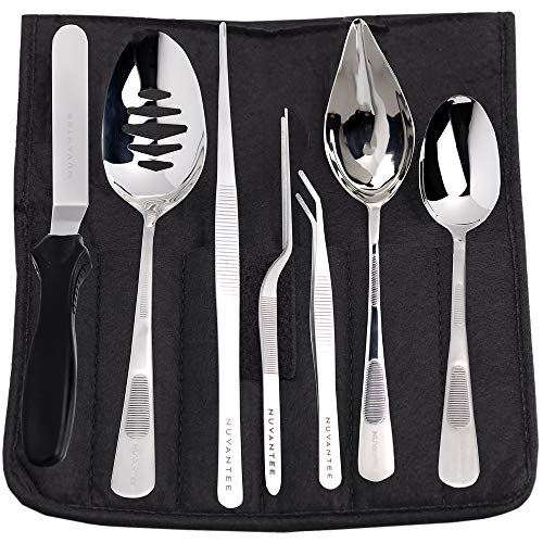 (Nuvantee Plating Tools - Professional Chef Kit - 8 Piece Culinary Plating Set - Stainless Steel)