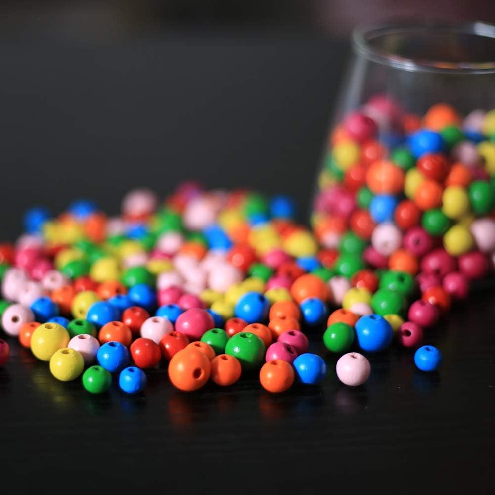720stk bunt holzperlen DAHI perlen holzperlen mit Loch bunt holzkugeln Holz perlen 8mm//10mm//12mmbastelnperlen f/ür DIY Schmuck Herstellung