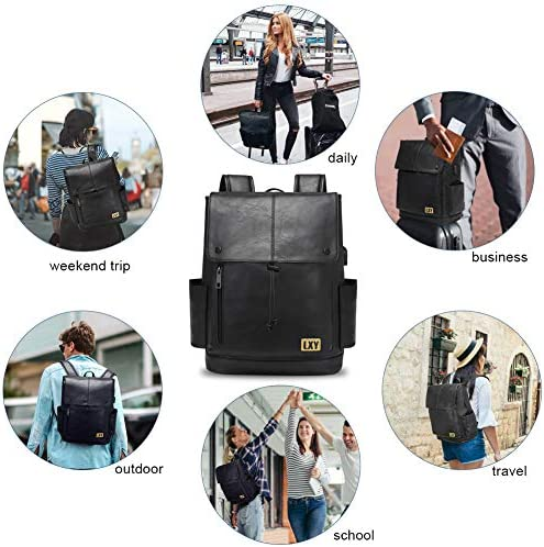 LXY Backpack for Women Men, Leather Backpack Purse, 15.6 Inches Laptop Bookbag with USB Port