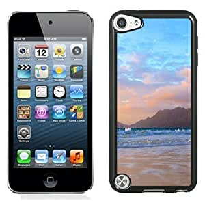 NEW Unique Custom Designed iPod Touch 5 Phone Case With Mountains Background Beach Waves_Black Phone Case