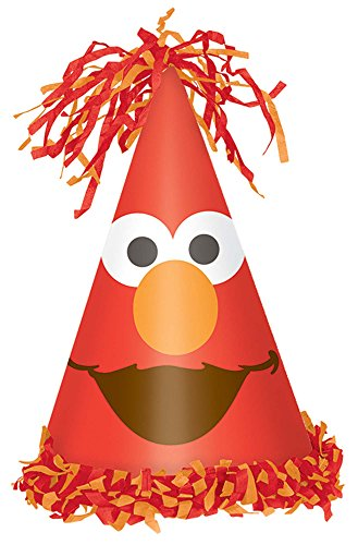 Amscan Sesame Street Elmo Turns One Cone Hat, Birthday