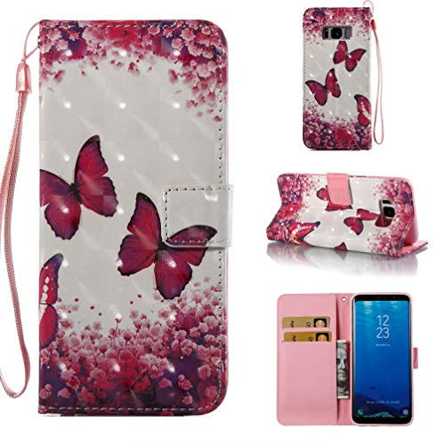 Case for Galaxy S8,Premium Pu-Leather Slim Durable 3D Printing Wallet Case Inner Soft Bumper Impact Resistant Magnetic Closure Card Holder Kickstand Case Compatible with Samsung Galaxy S8 -Butterfly