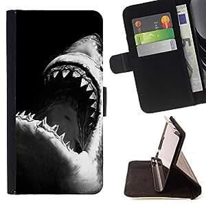 """Bright-Giant (Tiburón Tiburón Negro Blanco Surf Surf"""") Modelo Colorido Cuero Carpeta Tirón Caso Cubierta Piel Holster Funda Protección Para Apple (4.7 inches!!!) iPhone 6 / 6S"""