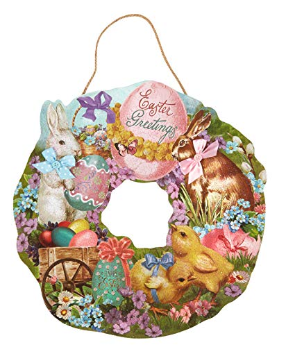 XL Retro Easter Wreath, Die Cut Vintage Easter Wreath for Front Doors and Walls, Wood Easter Decor, Bunny, Chicks, Flowers, Eggs, Bows (Greetings Easter Wreath) ()