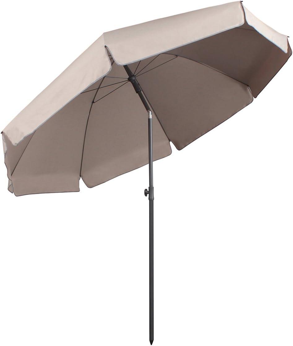 Sekey® sombrilla Parasol para terraza jardín Playa Piscina Patio diámetro 217 cm Protector Solar UV25+,Taupe