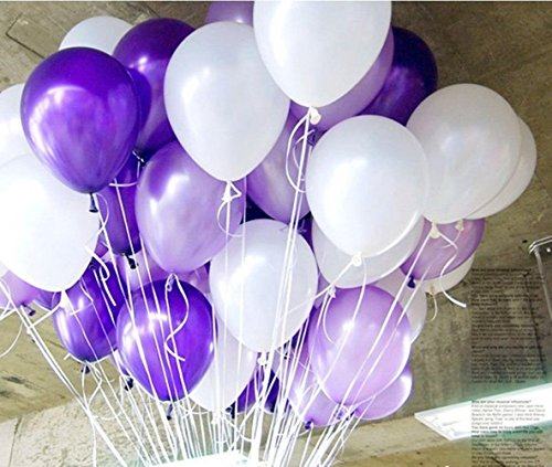100 Pcs 12''White&Purple&Light Purple Thickened Lustrous Pearlized Latex Balloons For Party (Purple And White Balloons)