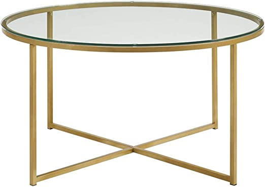 Coffee Table Round Transparent Tempered Glass Desktop Accent