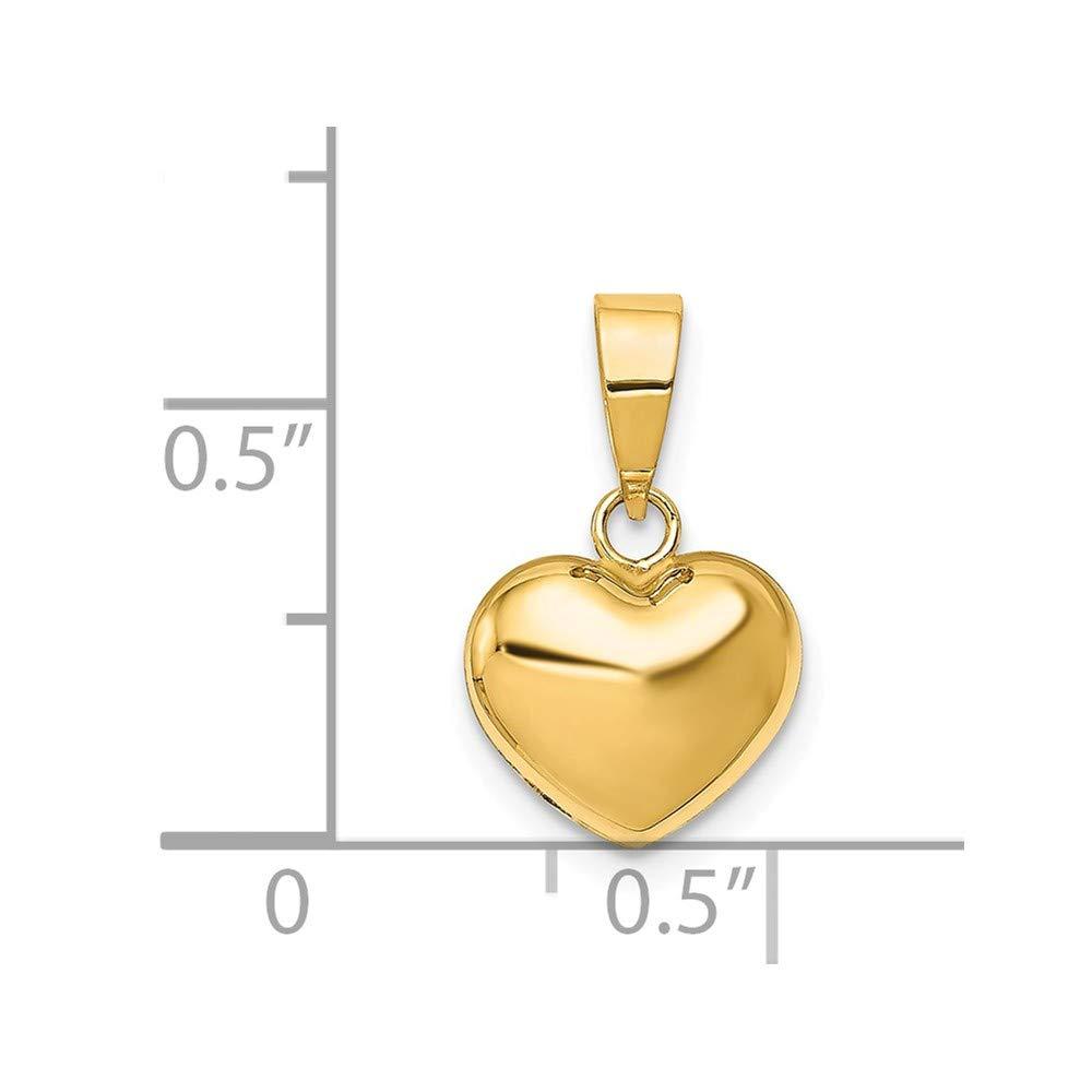 14k Yellow Gold Puffed Heart Pendant