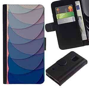 WINCASE (No Para S5 Mini) Cuadro Funda Voltear Cuero Ranura Tarjetas TPU Carcasas Protectora Cover Case Para Samsung Galaxy S5 V SM-G900 - trullo líneas abstractas 3d púrpura
