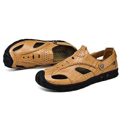 Zapatos Al Aire Antideslizante Playa Los Cuero De Hombres Casual Moda C Libre Verano Wknbeu Sandalias qafzTqP