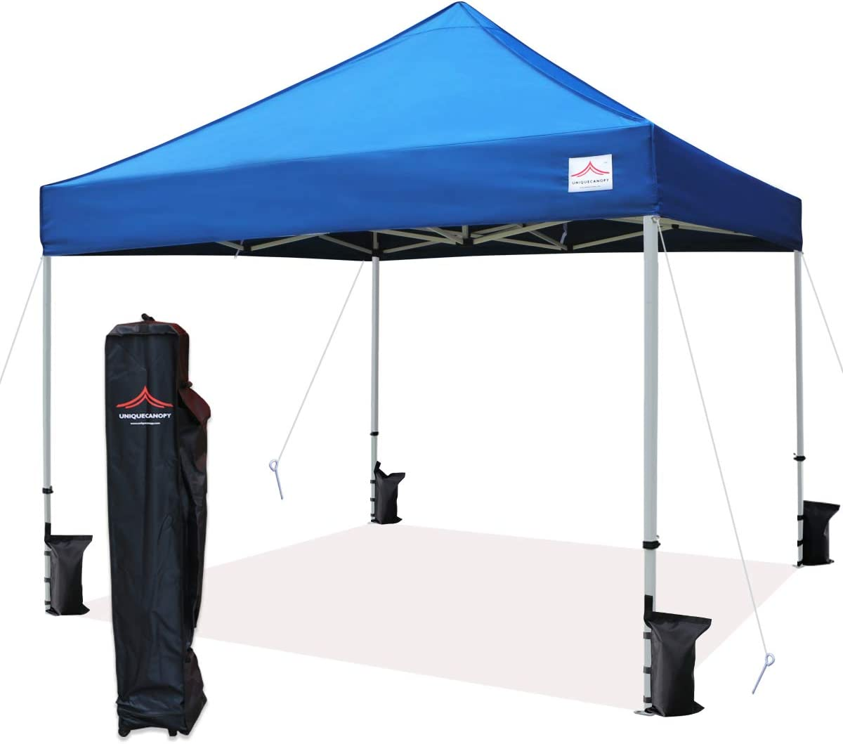 Amazon Com Uniquecanopy 10 X10 Ez Pop Up Canopy Tent Commercial Instant Shelter With Heavy Duty Roller Bag 4 Canopy Sand Bags 10x10 Ft Blue Garden Outdoor