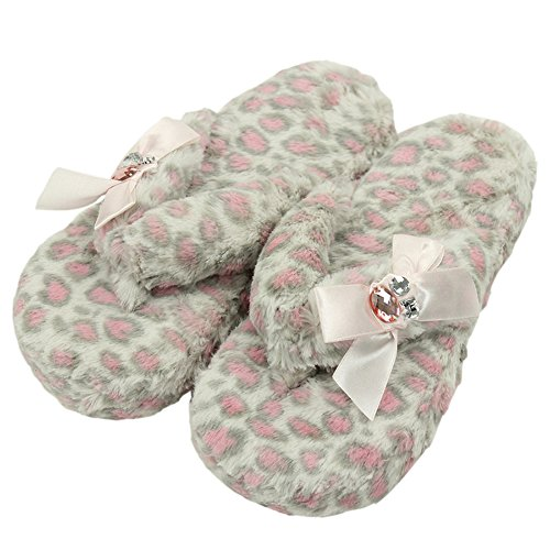 Home Slipper Women's Bejeweled Coral Fleece Plush Non-Slip Indoor House Sandal Flip-Flops Slippers,Pink Leopard Cheetah Prints,US - Thong Sandal Leopard Print