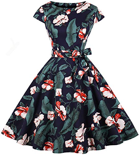Womens 1950s Vintage Short Sleeve Floral Print Swing Tea Party Prom Dress With Belt C66(Navy Blue M)