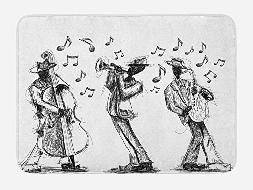(Lunarable Music Bath Mat, Sketch Style of a Jazz Band Playing Music with Instruments and Musical Notes Print, Plush Bathroom Decor Mat with Non Slip Backing, 29.5 W X 17.5 W Inches, Black White)