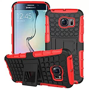 Heavy Duty Shock Proof Impact Rugged Hybrid Case For Samsung Galaxy S6 Edge G925 Kick Armor Phone Back Cover With Stand Function --- Color:Blue