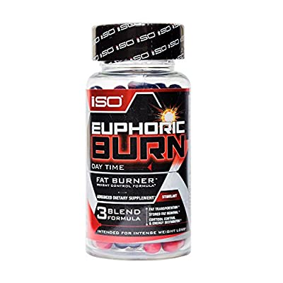 ISO EUPHORIC BURN DAYTIME THERMOGENIC FAT BURNER - 72 Caps, 36 Servings - Boost Energy + Appetite Control + Improved Metabolism + Increase Focus & Concentration + Reduce Stress & Anxiety + Weight Loss
