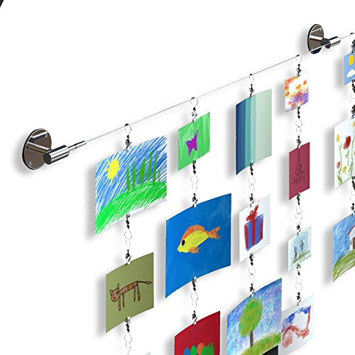 (Hanging Wall Display Steel Wire Rod Set For Kids Arts Projects Crafts Organizer with Clips)