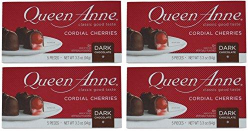 Queen Anne Dark Chocolate Cherries (5 Piece/3.3oz Box) - 4 Pack (Chocolate Cherries Dark)