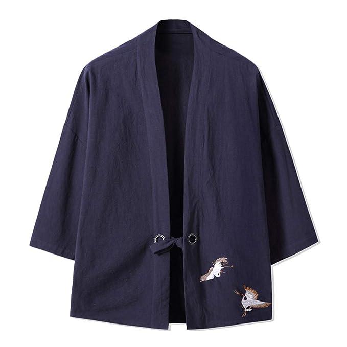 Abrigo Capa Básico Cuello Mao Manga 3/4 para Hombre Vintage Kimono Chaqueta: Amazon.es: Ropa y accesorios