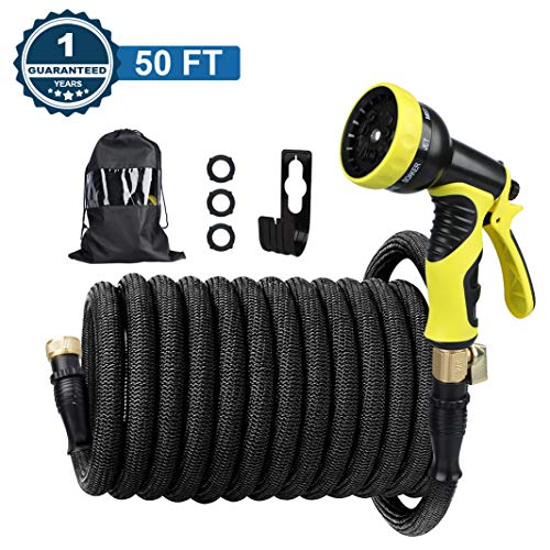 Chugod Upgrade 50 Foot Expandable Garden Hose, Leakproof Self-Locking Connection & Self-installion Design, Lightweight No-Kink Flexible Water Hose, with 9 Spray Nozzle (Including Hook and Carry Bag)