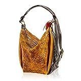 Marino Orlandi Italian Designer Butterfly Embossed Cognac Leather Bucket Sling