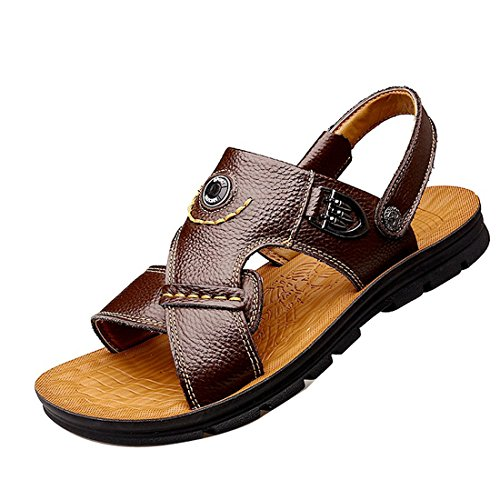 Gaorui Mens Leather Sandals Summer Outdoor Fisherman Breathable Sport Beach Sandals Brown y8G1uGc9D