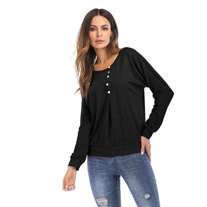 Otoño Blusa de Manga Larga para Mujeres Moda Camisa O-Cuello Casual Camisetas sólidas Larga