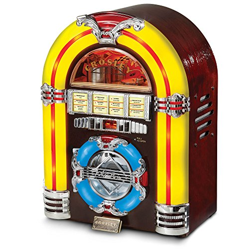Crosley CR1101A-CH Jukebox with CD Player and LED Lighting, Cherry (Record Player Jukebox)