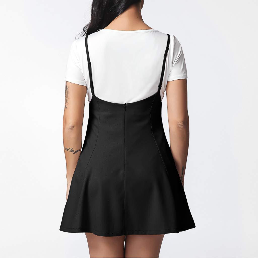 3078ca651f04ba Yanhoo Vestiti,Gonne,Abito, Gonna Nera da Donna alla Moda con Abito  Plissettato con Spalline: Amazon.it: Abbigliamento