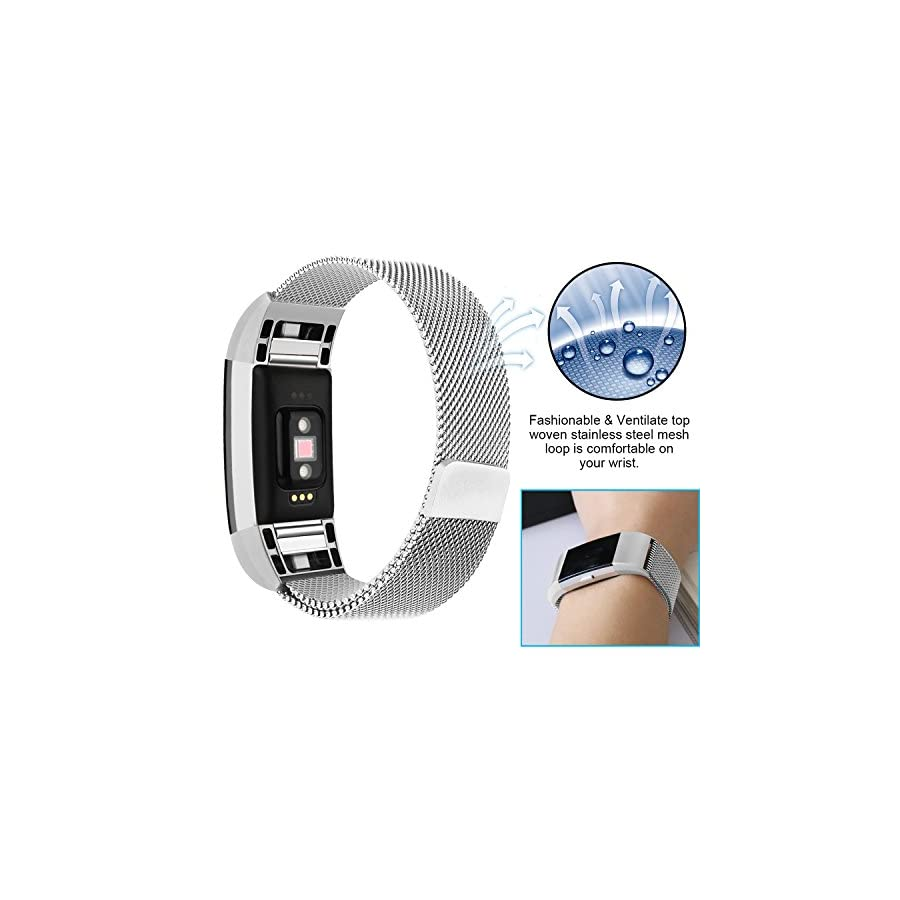 POY Metal Replacement Bands Compatible for Fitbit Charge 2, Milanese Loop Stainless Steel Bracelet Smart Watch Strap with Unique Magnet Lock
