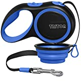 Triton Retractable Dog Leash - 16 Foot Reinforced Nylon with Collapsible Water Bowl - 1-Touch Locking System - Tangle-Free - Anti-Slip Rubberized Handle