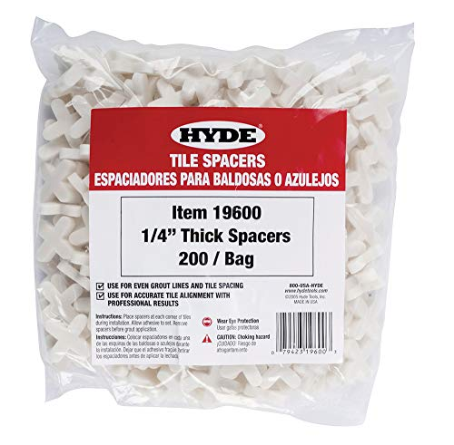 Tile Spacer Bags - Hyde Tools 19600 1/4-Inch Thick Tile Spacers, 200 Per Bag