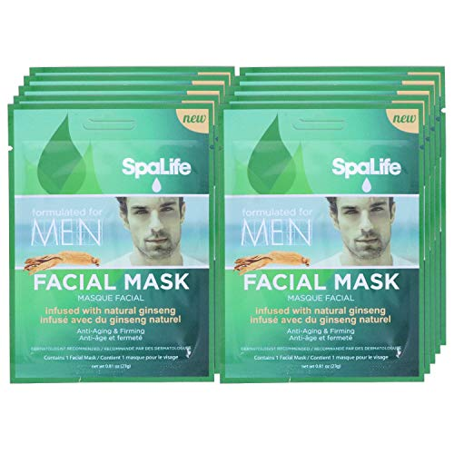 - SpaLife Hydrating, Purifying, Anti-Aging, Detoxifying and Soothing Korean Facial Masks - 10 Masks - (Men's Natural Ginseng)