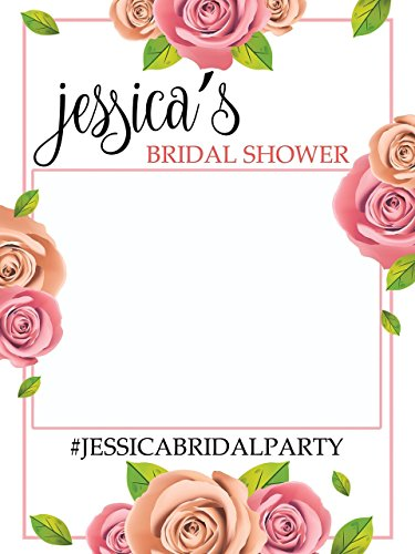 Custom Floral Bridal Shower Photo Booth Frame - Sizes 36x24, 48x36; Personalized Bridal Shower Decorations, Wedding photo booth prop, Bride to be, Miss to Mrs. Handmade Party Supply Photo Booth - Customized Frames Online