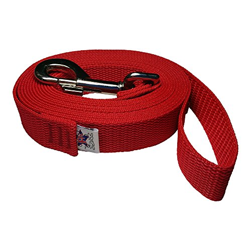 Leash Pet Polypropylene (Freedom Pet 1 inch Polypropylene Dog Leash FPS-PP50 Select Your Length and Color (Firehouse Red, 30 FT))