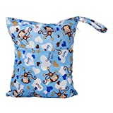 2-Zip Washable Baby Cloth Diaper Nappy Bag Monkey Heart Blu