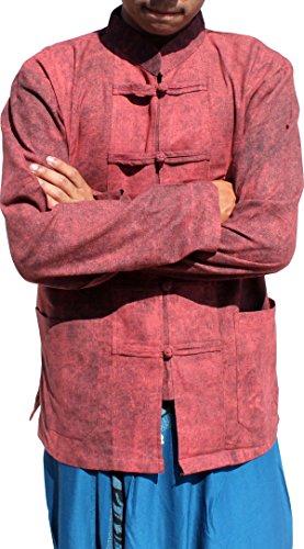 Raan Pah Muang Stonewash Medieval Cotton Shirt Chinese Buttons and Collar Long Sleeve, Medium, Burnt Umber Brown (Cotton Thai Craft)