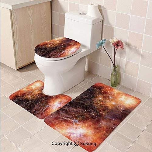 3pcs/Set Space Decorations Style Soft Comfort Flannel Toilet Mat,Nebula Gas Cloud in Deep Outer Space Galaxy Expanse Milky Way Star Print,Plush Bathroom Decor Mat with Non Slip Backing,Burnt Orange B]()