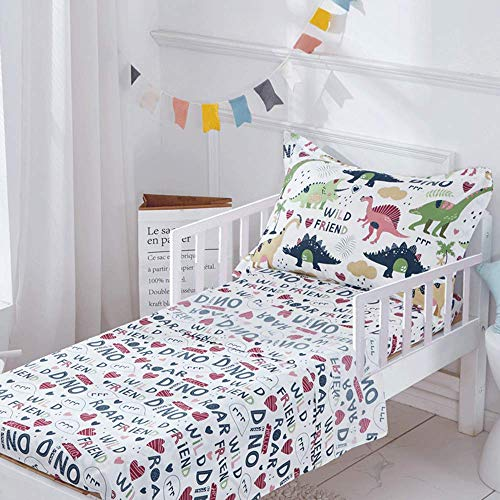 Joyreap 3 Pieces Microfiber Toddler Sheet Set for Boys n Girls, Dinosaur Printed on White, Soft, Breathable and…