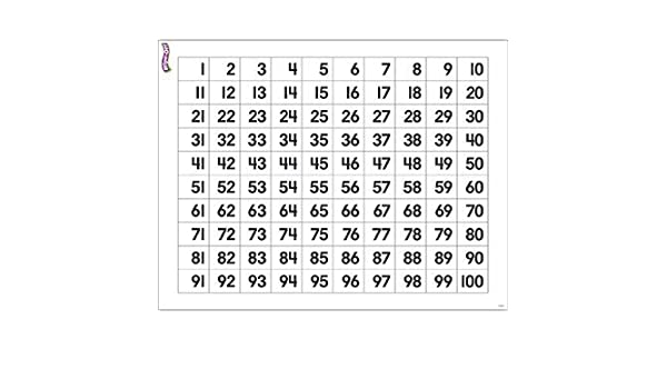 Amazon.com : * NUMBERS 1-100 WIPE OFF CHART 17X22 by EDR : Early ...