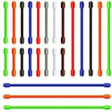 24 Pcs Gear tie Reusable Rubber Twist Tie Multi-functional Silicone Cable Ties Cord Fastening Wraps Straps, Hook & Loop, 4 Different Sizes Wire Organizer Management for Tablet PC TV, 3/6/10/12-Inch, Assorted Color