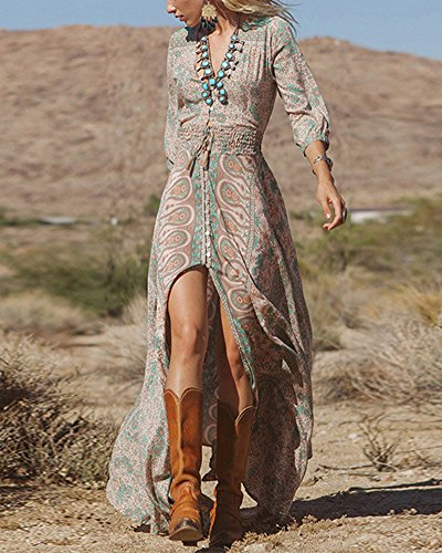 Mujeres Vestidos Bohemia Cuello V Hendidura Estampado Manga Larga y Vestido de la Playa y Elàstico Cintura Maxi Vestido Como la Imagen