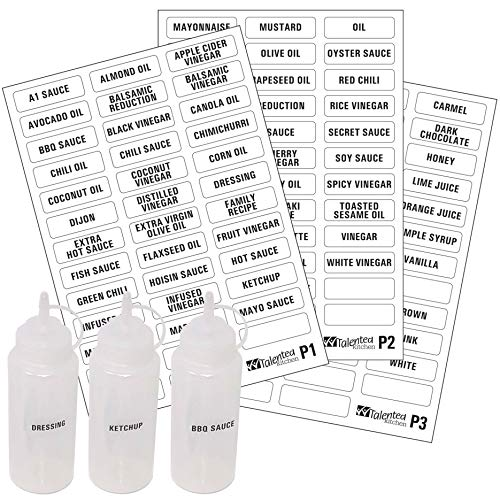 114 Alphabetized Condiment Label System: 114 Names of Sauces, Condiments, Oils, Colors & Blank Labels by Talented Kitchen. Preprinted Clear Pantry Sticker with Black Font (114 CLEAR CONDIMENT LABELS)