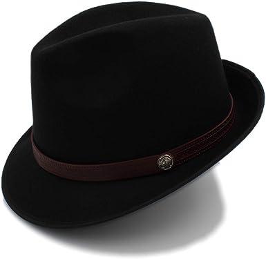 Kid Wool Felt Wide Brim Fedora Panama Jazz Bowler Hat Coffee Leather  Band 54cm