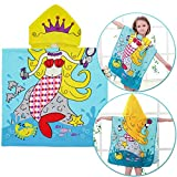"""Cotton Hooded Towel for Girls, Quick Dry Hooded Towel Kids, Mermaid Towel for 1 to 6 Years Old Kids 100% Premium Cotton Ultra Soft, Super Absorbent, Extra Large 36"""" x 24"""", Use for Bath,Pool,Beach"""