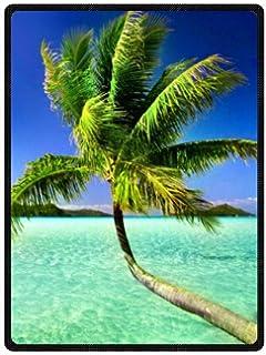 Large West Palm Palm Tree Fleece Plush Blanket 58 x 80