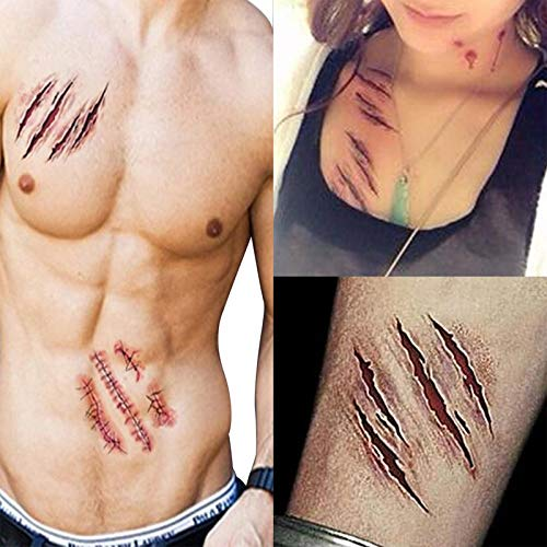 Fake Scar - 6 Pcs Halloween Zombie Scars Tattoos With Fake Scab Bloody Makeup Decoration Wound Scary Blood - Party Decorations Party Decorations Blood Halloween Fake Artificial Makeup -