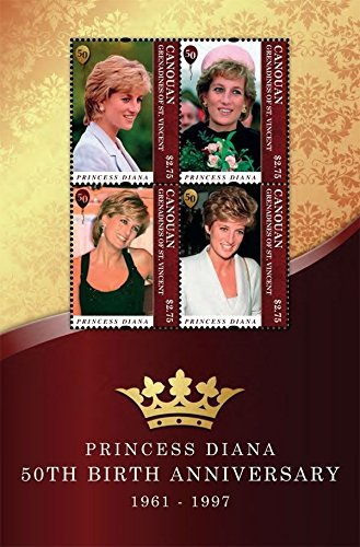 Princess Diana Sheet - Imperial Mint Princess Diana 50th Birthday Anniversary Stamp Sheet of 4 Stamps