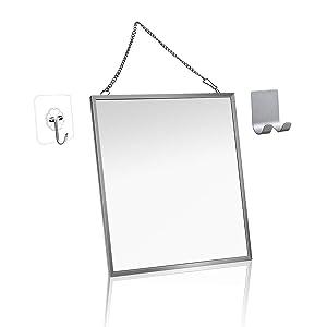 Fogless Shower Mirror for Shaving, MGLIMZ Anti-Fog Free Bathroom Shower Mirror with Metal Chain Razor holder Adhesive Hook